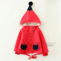 Autumn winter baby girl coat pink red long sleeve thick witch hat coat kids girls hooded jacket children jackets 4pcs/lot