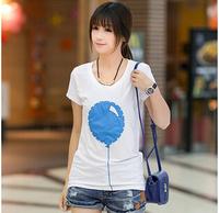 Free shipping fashion new 2014 women shirt  hot selling slim clothing short sleeve o-neck white balloon t shirts