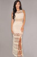 roupas femininas 2014 Sexy Women Summer Cream Crochet Accent Lace Long Gown Dress party evening elegant LC6674  vestido de festa