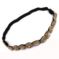 Wholesale 12pcs Gold Beaded Crystal Rhinestones Headband Elastic Hairband Handmade Boho Crystal Headwrap Wedding Hair Jewelry