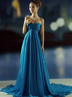 Charming Elegant Free Shipping A-line Style Blue Chiffon Court Train Natural Long Prom Dresses New Arrival