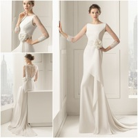 JM.Bridals CY3610 2015 See Through Scoop Ivory White Lace Mermaid Long Sleeve Wedding Dress Flowers Buttons