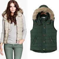 Removable hooded cotton zipper women vest down jacket 2014 New patchwork down vest women fur collar winter coat women waistcoat
