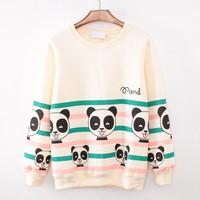 [Magic] 2014 top nice casual hoodies colors striped many panda baby printed cotton sweatshirt women good fleece sweatshirts