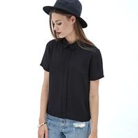 European Handsome Street Style Women New Style  Black Chiffon Shirt Turn Down Back Button Design Short Sleeve Black Tops D576