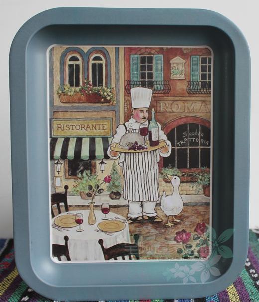 Metal do Vintage decorativo bandejas de cozinha prato de sobremesa de lanches frutas pallet bandejas de armazenamento rural decoração da parede 20.5 * 16 5cm6pcs / lot(China (Mainland))