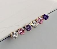 3 Pairs/Lot New fashion European Statement Jewelry gold Plated zircon Cute Lover's Women Stud Earrings