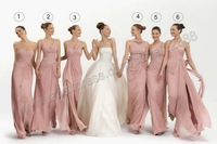 6 Styles  Neckline Ruched Bridesmaid Dresses Long Formal Women Gown for Wedding Free Shipping Dress