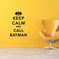 Keep Calm and CALL BATMAN Wall Decal Sticker Wall Stickers Home Decoration Wallpaper Wall Art 60cmX90cm Free Shipping