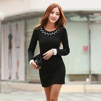 2014  Brand Autumn velvet cotton backing  thin Women dress Bottom dress wcloset Black M L XXL