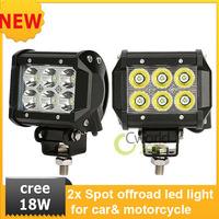 "NEW   2 x cree led light bar  4"" LED 18W Spot /Flood Motorcycle Work ATV Off-Road 4x4 Fog Driving Cree UTV"