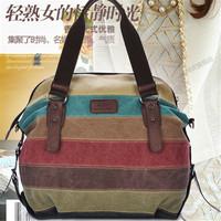 The new canvas bag ladies handbag Shoulder Messenger Bag College Wind Korean fashion stitching large wholesale handbags