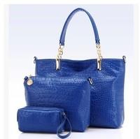 2014 fashion three-piece big embossed crocodile pattern shoulder diagonal bag B1412