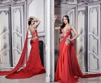 Tempting Red Mermaid Prom Dresses 2014 Sweetheart  Embroidery Beading Bodice Long Chiffon Shawl Special Occasion Dresses