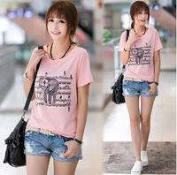 Free shipping  cotton women t-shirt  summer  women tops elephant printed casual short sleeve o-neck women clothing