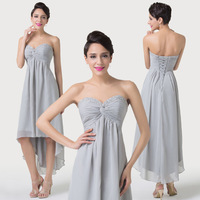 2015 New Grey High-Low Evening Dress Chiffon Front Short long Back Formal Asymmetrical Homecoming Gown Dancing Party Dress 6216