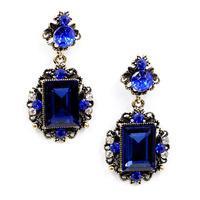 2014 New fashion women statement big blue crystal stud Earrings for women fashion earring Factory Price wholesale women gift
