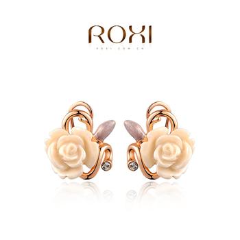 Roxi роскошные женские cерьги ручной работы с гравировкой в виде цветка, изготовлены из красного золота (позолота) трех разовое золотое напыление, россыпь австрийский кристаллов, 100% качество