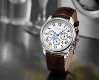 GUANQIN Business quartz watches fine steel waterproof watch genuine leather belt men's watch men watch Water Resistant
