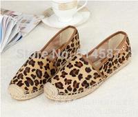 Women Flat 2014 Brand Leopard Print Casual Shoes Woman Slippers Shoe Flats Imitate Horsehair Espadrilles Sapatos AH141