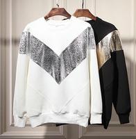 Designer sweatshirts men brand sequined V print neoprene structured sweatshirt patchwork oversized hoodies sweatshirt Nora10597