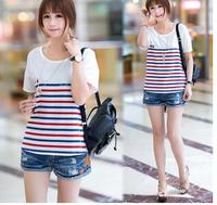 Free shipping fashion women clothes 2014  basic short sleeve summer cotton t shirt women striped slim american apparel t shirt