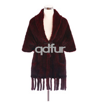 Handmade Winter Women's Natural Mink Knitted Poncho Shawl with Pockets Tassles Lady Wraps Soft Scarf Tops QD30488