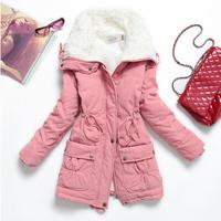 Lamb Wool Collar Cotton-padded slim Jacket Coat 2014 New Thickening Cotton-padded Women's Winter Coat Medium-Long Wadded Jacket