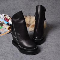 European Top Brand 2014 Autumn Winter Women Ladies Fashion Zippers Wedge Heel Calfskin Leather Platform Boots High Heel Shoes