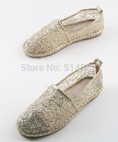 Plus size 44 Fashion 2014 Women's Flats Gold Lace Espadrilles Flat Casual Shoes Free shipping AH142