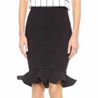 2014 New Arrival Autumn Casual Skirt Femininas Vintage Slim Pencil Skirts Knee-Length Skirts Ruffles Solid Short Women Clothing