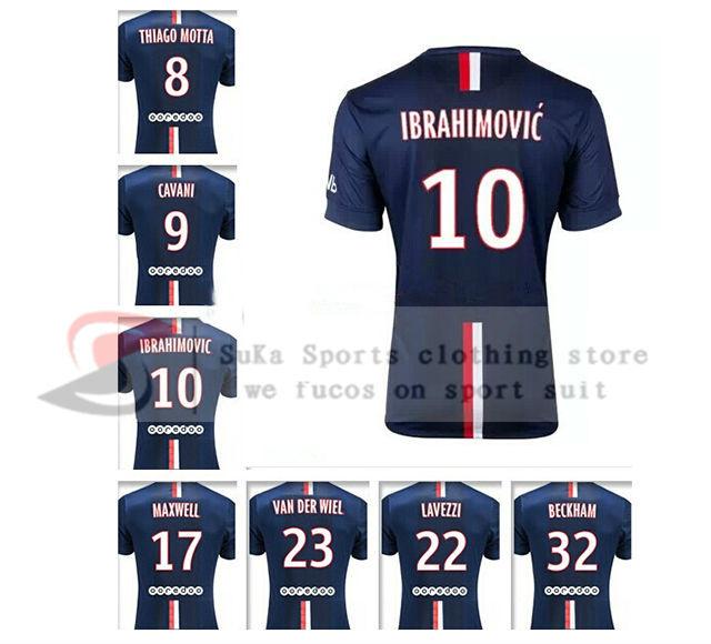 Thai Quality Paris New Soccer Jerseys 14 15 Ibrahimovic Cavani T.SILVA BECKHAM LUCAS DAVID LUIZ Soccer Jerseys(China (Mainland))