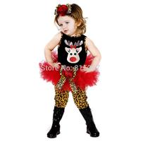 Children Christmas Halloween Reindeer Pattern Sleeveless TuTu Dress+Leopard Legging+Flower Hair Band 3Pcs Set Baby Girl Clothing