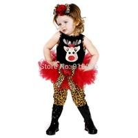 5Set Children Christmas Reindeer Pattern Sleeveless TuTu Dress+Leopard Leggings+Flower Hair Band 3Pcs Set Baby Girl Clothing