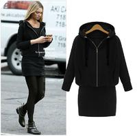 L~6XL Women Plus Size Long Batwing Sleeve Zipper Autumn Pullover Hooded Sweatershirt Eropean Slim Long Winter Outerwears Coats