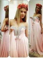 Free Shipping Charming Elegant 2015 New Crystals Pink Chiffon Natural Long Vestidos de Festa Vestido Prom Dresses New Arrival