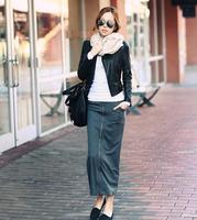 2014 new zipper up split cotton ankle length skirt fashion Korean women's elastic long skirts (black grey 3002