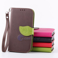 PU Leather Leaf Style Case For Samsung Galaxy S3 I9300 Case Cove Card Holder Wallet Stand Flip Skin 5 Colors + Lanyard