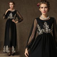 2014 Autumn Beautiful Maxi Long Embroidery Dress, Sweet Lantern Sleeve Women's Ankle-length Chiffon/Mesh Dress