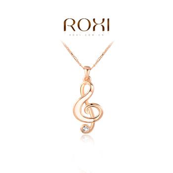 Roxi роскошная женская цепочка с кулоном ручной работы, изготовлена из розового золота с трех разовым золотым напылением(позолота), украшена подвеской в виде скрипичного ключа, оригинальный дизайн