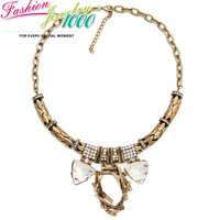 Creative Double Triangle Crystal Bird's Nest Chain Necklace Fashion Vintge Chunky Statement Choker Jewelry for Women Dress Party