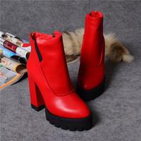 European Fashion 2014 Autumn Winter New Women Ladies Brand Top Quality Calfskin Leather High Thick Heel Platform Boots