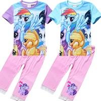 Free shipping my little pony Girls set wholesale Children's wear short sleeve T-shirt + leggings suit  Children clothing 9098