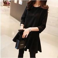 free shipping ! female sweet ruffles mini dress girl's three quarter sleeve dress 2014 ladies' new fall clothing