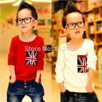 LittleSpring Retail 1 pcs 2014 children's clothes kids cotton top flag long sleeve t-shirt kids clothes