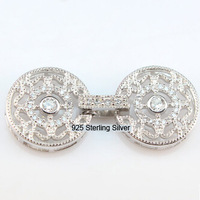 DIY Pearl Accessories Fashion 925 Silver Plated Platinum Circle Big Diamond Necklace Buckle Ornaments Clasp Women DIY Jewelry