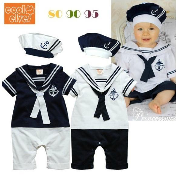 2014 marinheiro menino romper/2 peças roupas terno: romper com o chapéu/verão marinha marinha cor branca roupa do bebê set(China (Mainland))