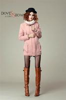 Lamb Wool turn down Collar Cotton-padded Jacket Coat 2014 New Thicken Cotton-padded Women Winter Coat Medium-Long Wadded Jacket