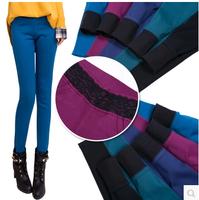 2014 New Fashion Autumn and Winter High quality Satin Milk Velvet Lace Multicolour Soft Close Pencil Pants Plus Velvet Jeans