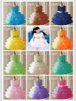 Retail !2014 new sleeveless Waist Chiffon Dress Girls Pearl  Flower Tutu Layered Princess Party Bow Kids Formal Dress--15colors